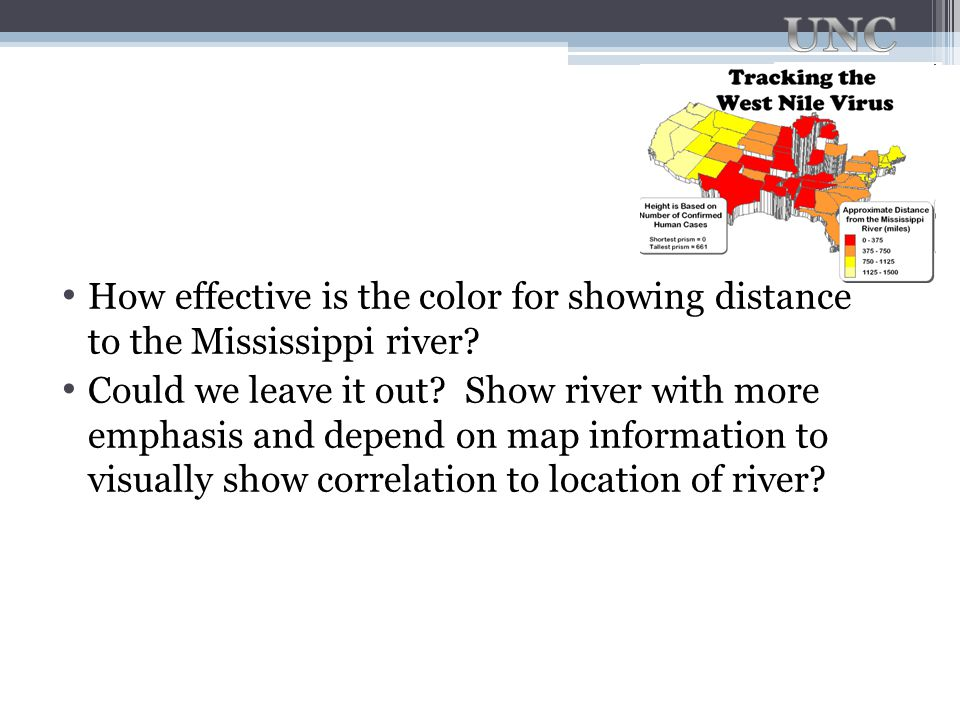 How effective is the color for showing distance to the Mississippi river