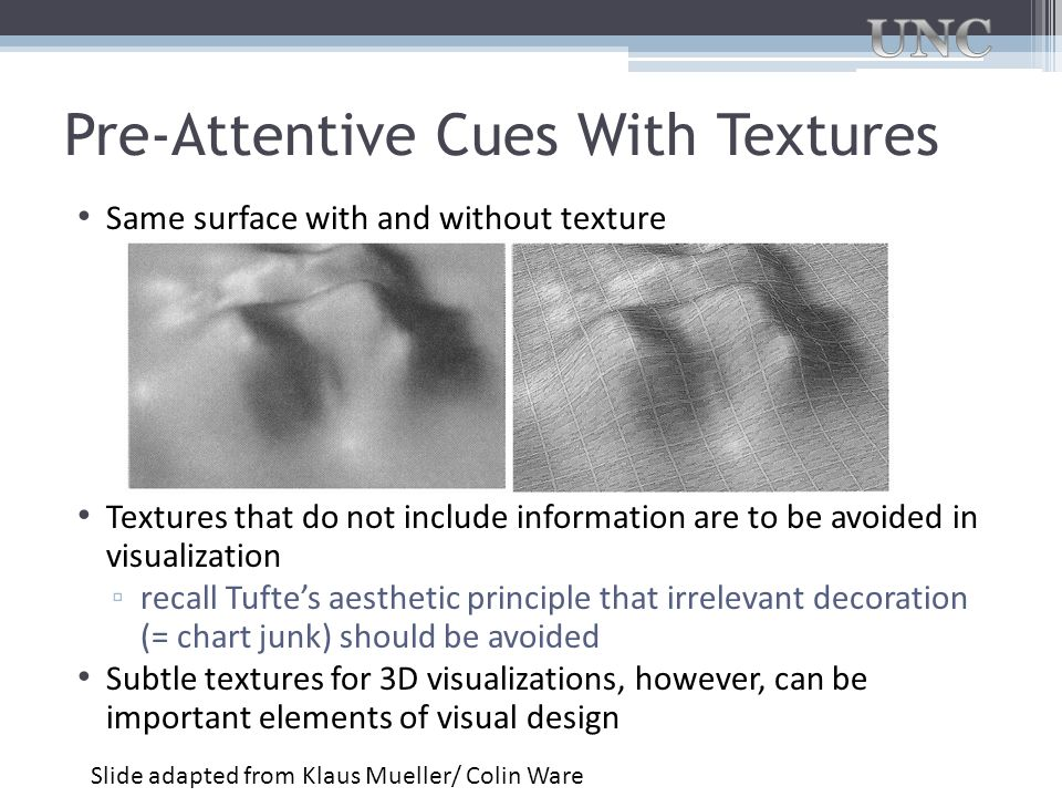 Pre-Attentive Cues With Textures