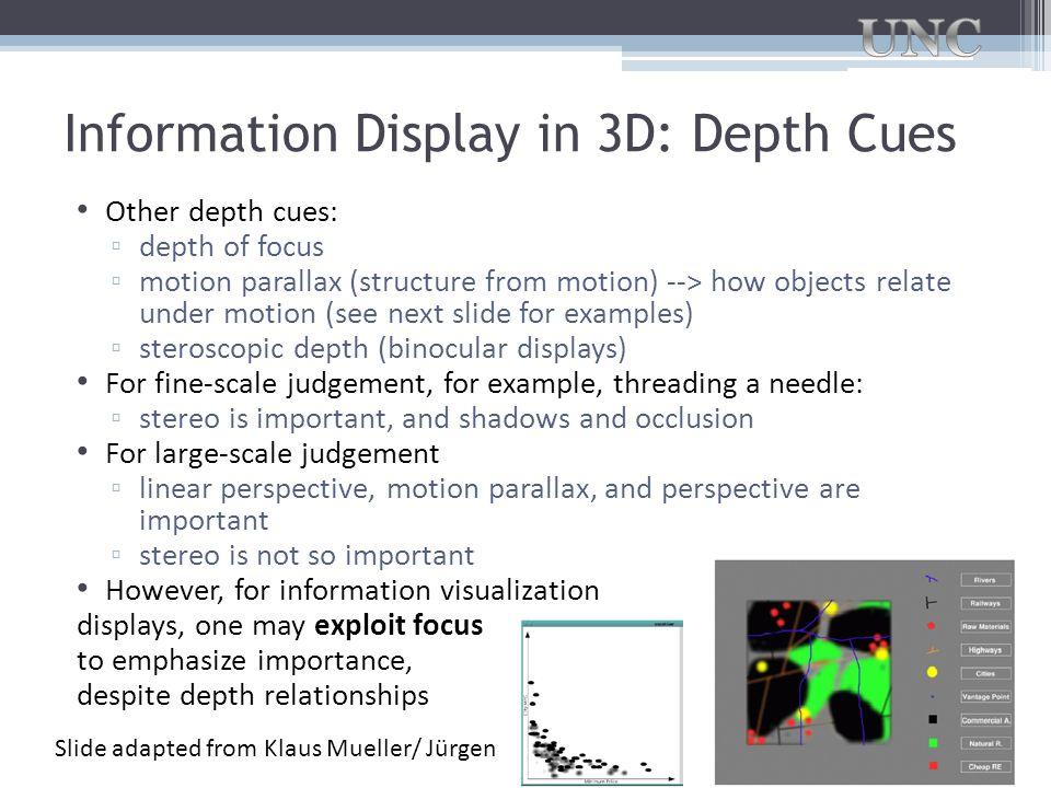 Information Display in 3D: Depth Cues