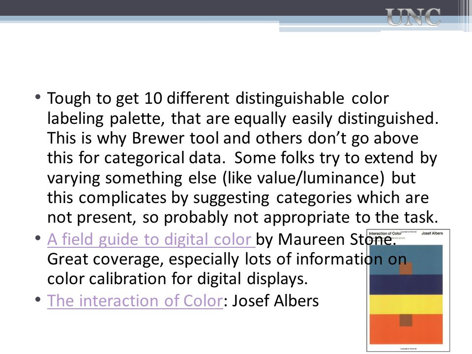 Tough to get 10 different distinguishable color labeling palette, that are equally easily distinguished. This is why Brewer tool and others don't go above this for categorical data. Some folks try to extend by varying something else (like value/luminance) but this complicates by suggesting categories which are not present, so probably not appropriate to the task.
