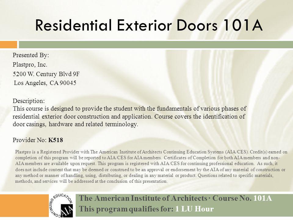 Residential Exterior Doors 101A