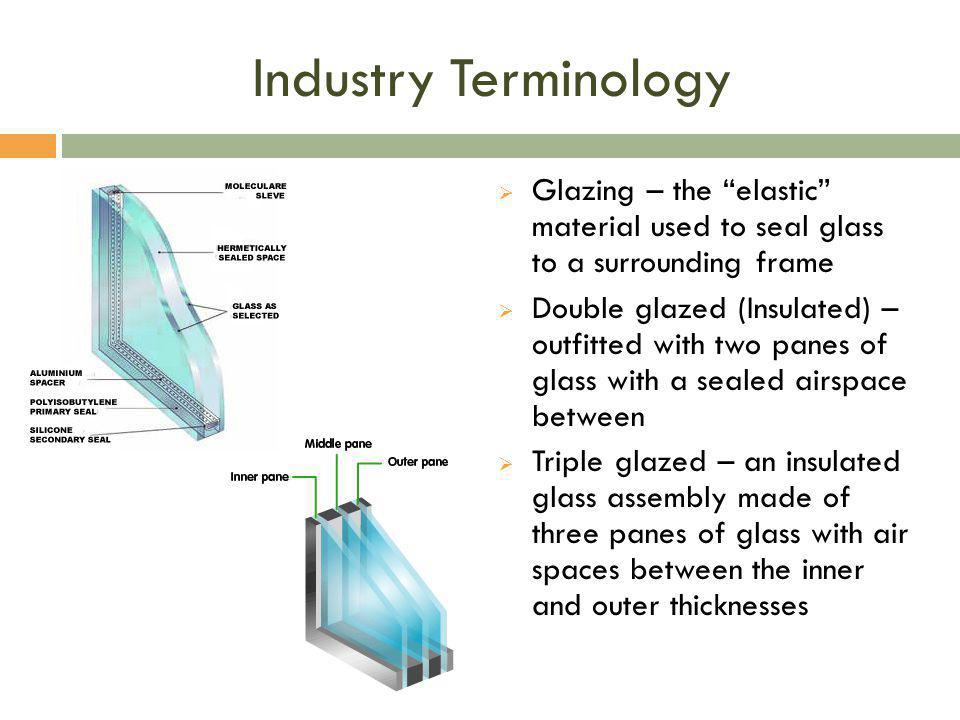Industry Terminology Glazing – the elastic material used to seal glass to a surrounding frame.