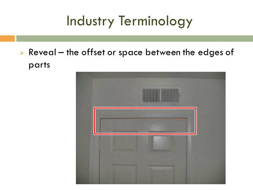 Industry Terminology Reveal – the offset or space between the edges of parts
