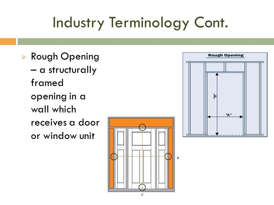 Industry Terminology Cont.
