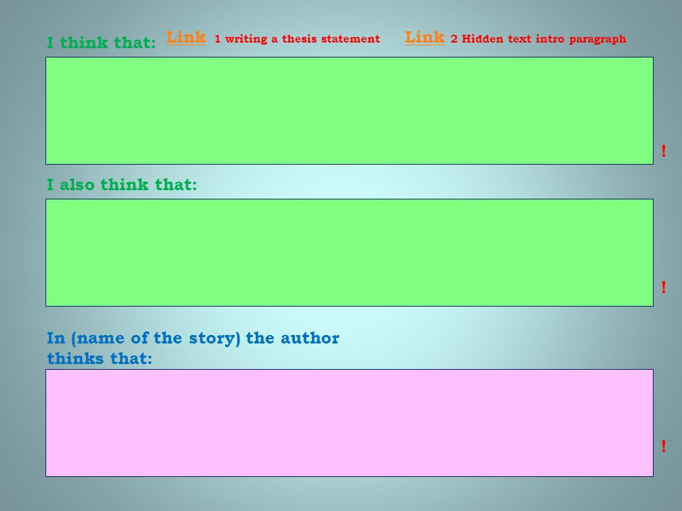 Link 1 writing a thesis statement