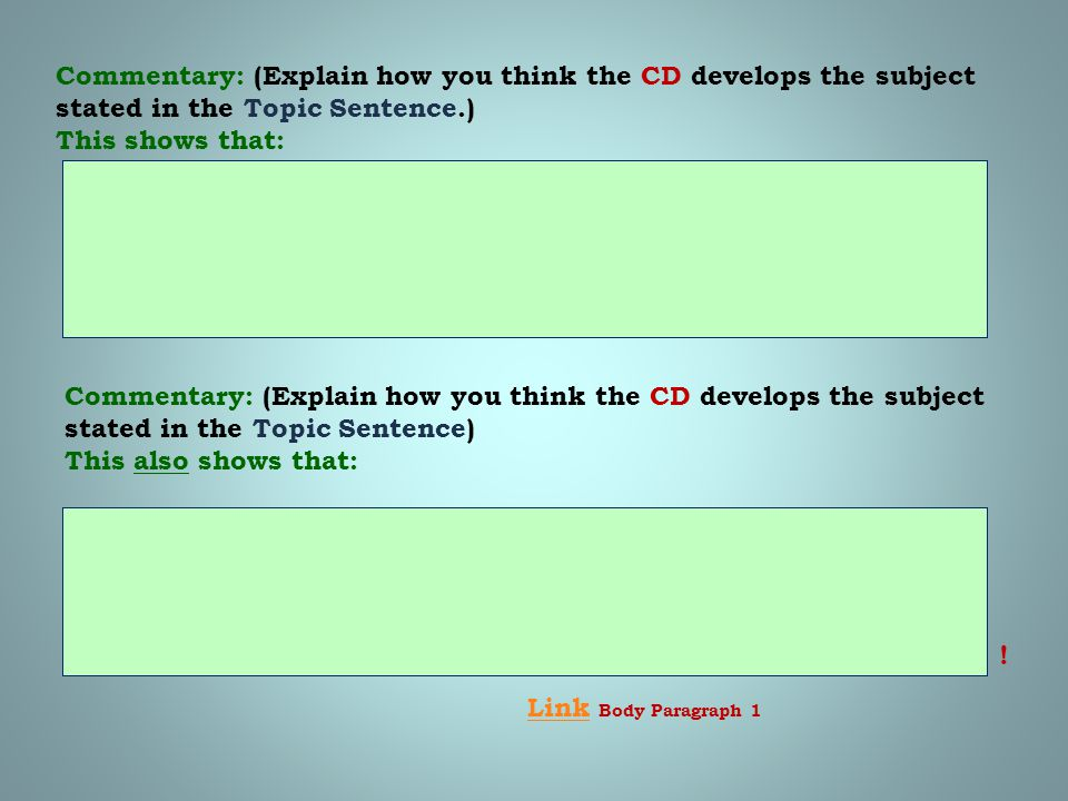 Commentary: (Explain how you think the CD develops the subject stated in the Topic Sentence.)