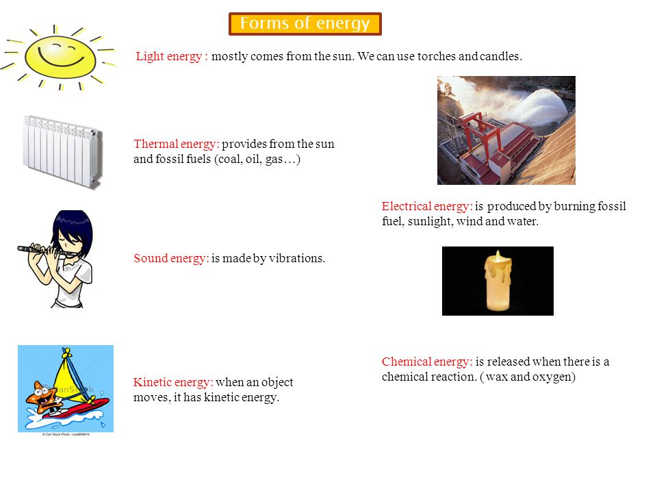 Forms of energy Light energy : mostly comes from the sun. We can use torches and candles.