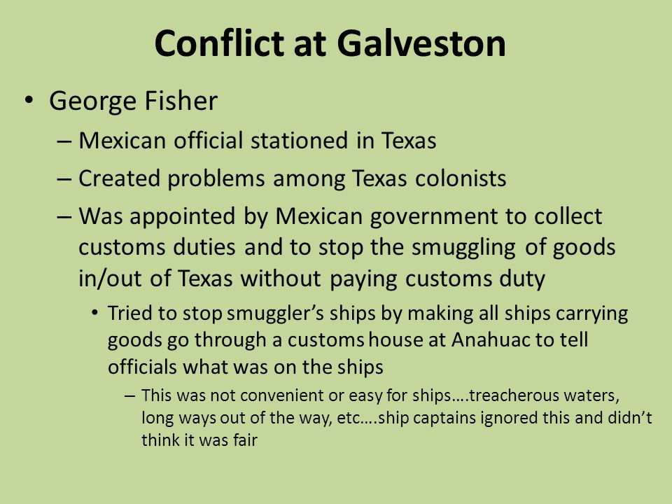 Conflict at Galveston George Fisher