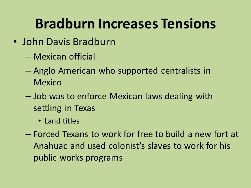 Bradburn Increases Tensions
