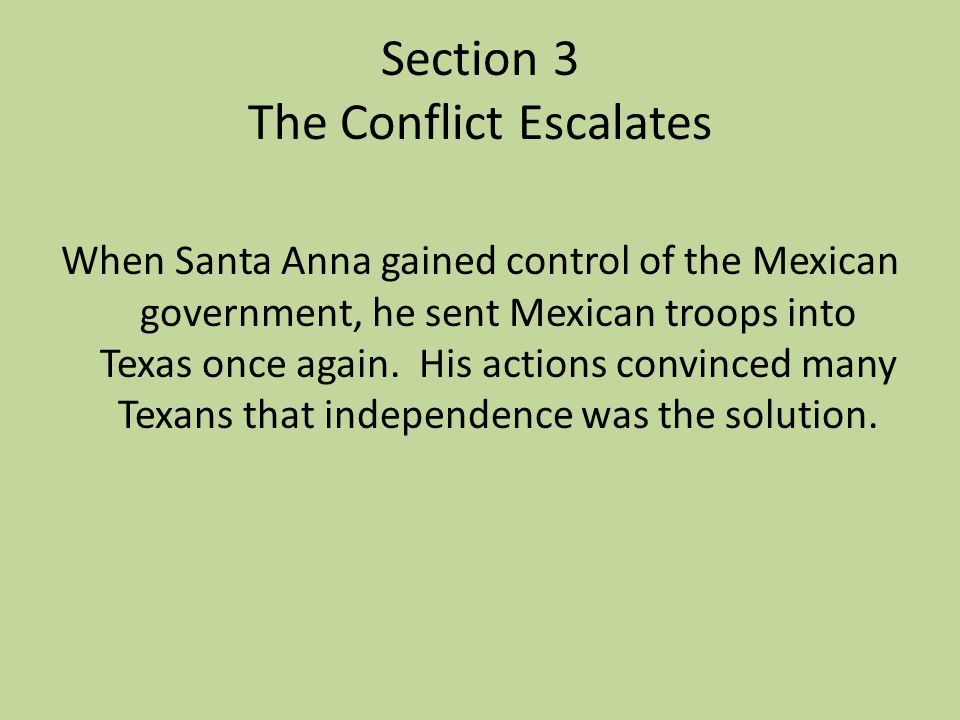 Section 3 The Conflict Escalates