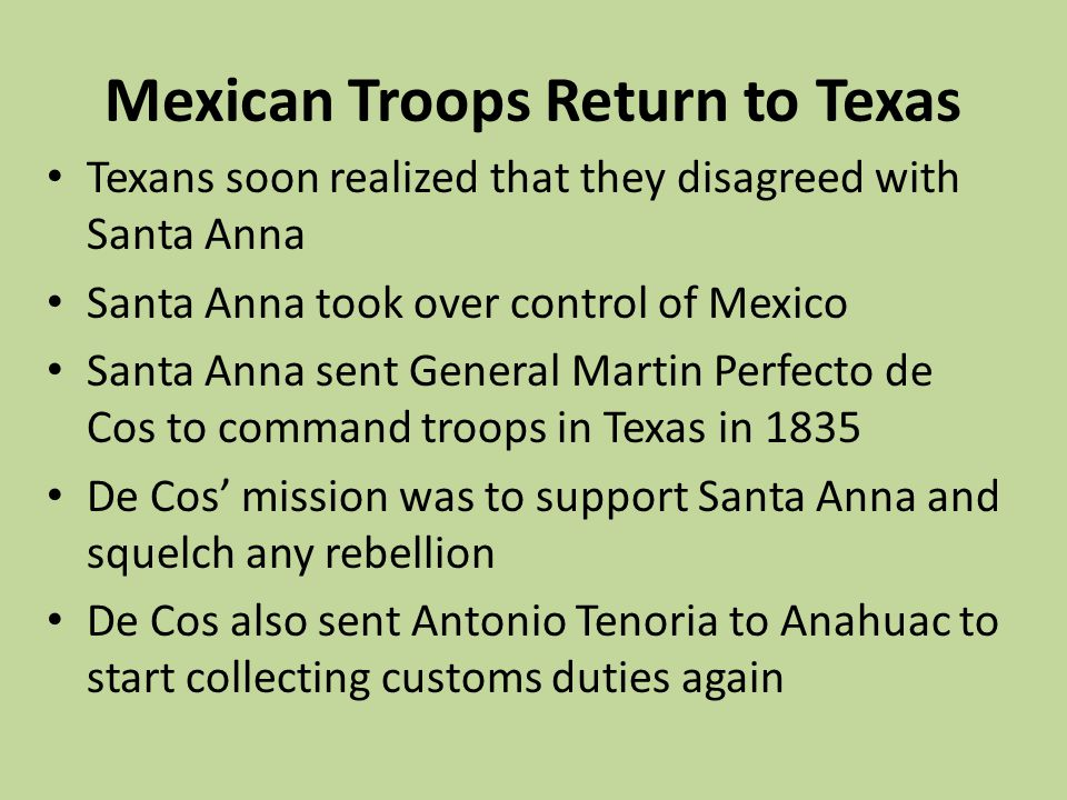 Mexican Troops Return to Texas