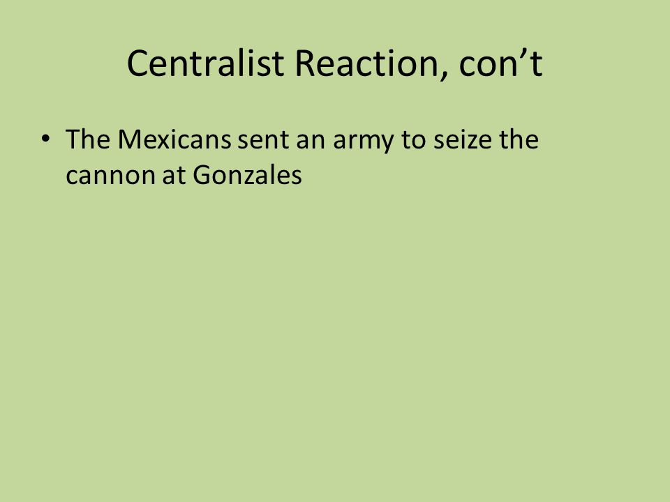 Centralist Reaction, con't