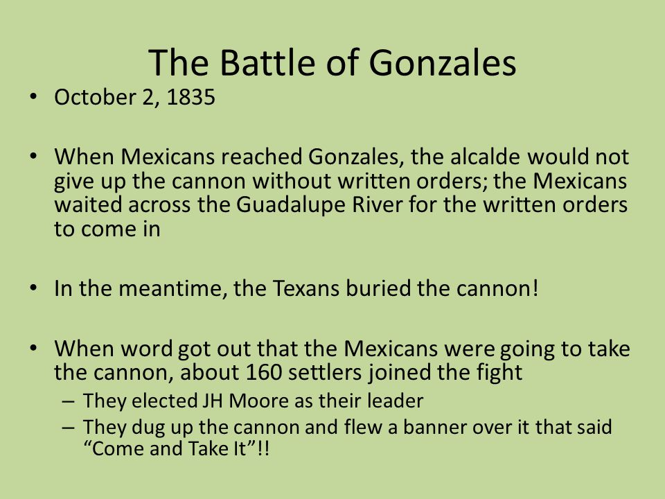 The Battle of Gonzales October 2, 1835