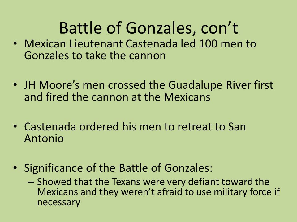 Battle of Gonzales, con't