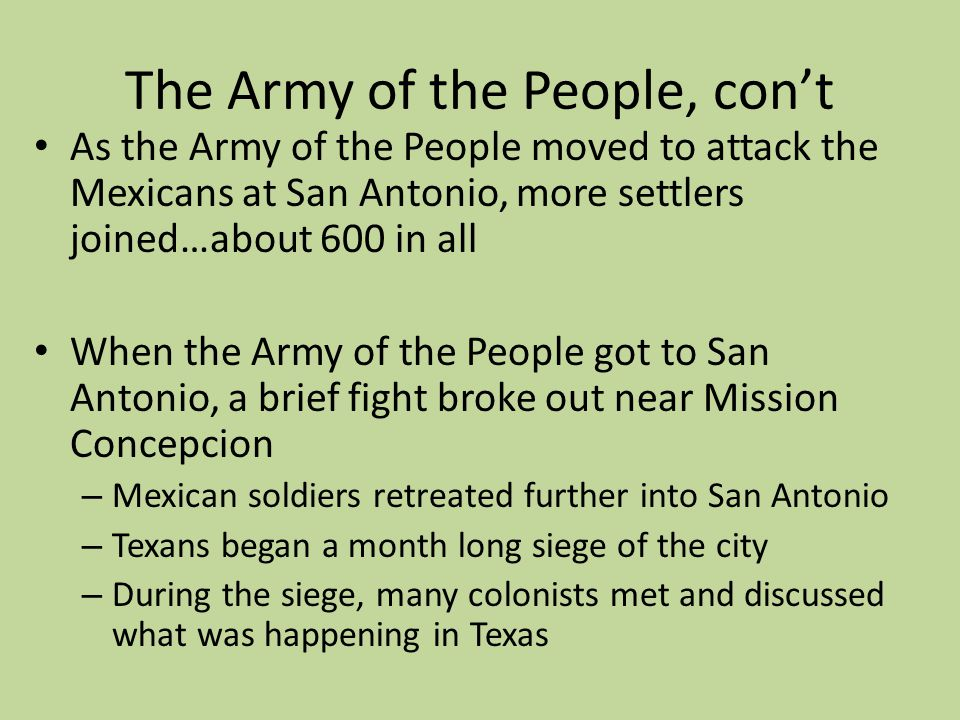 The Army of the People, con't