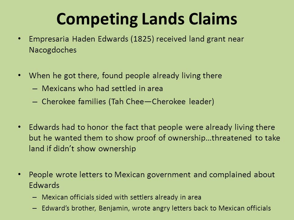 Competing Lands Claims