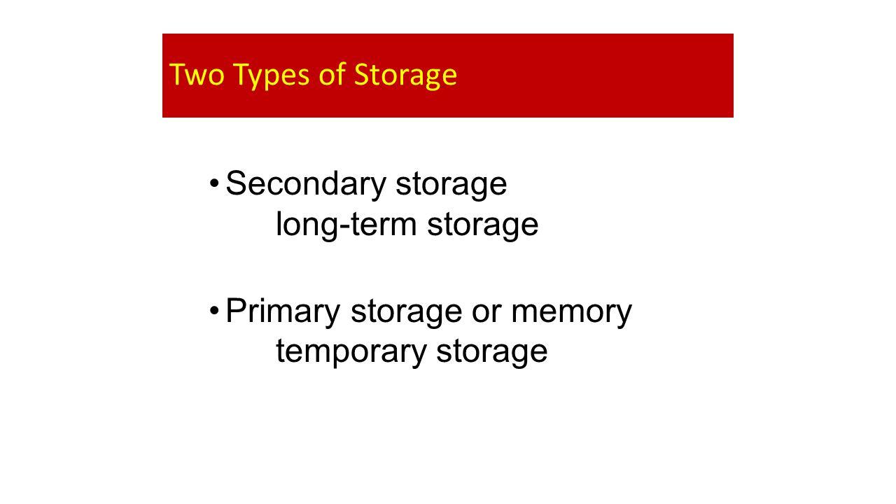 Two Types of Storage Secondary storage. long-term storage.