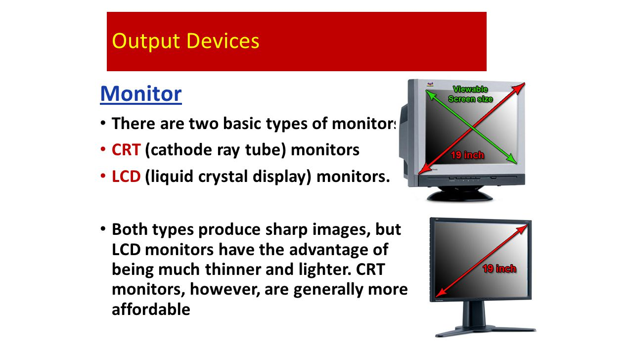 Output Devices Monitor There are two basic types of monitors: