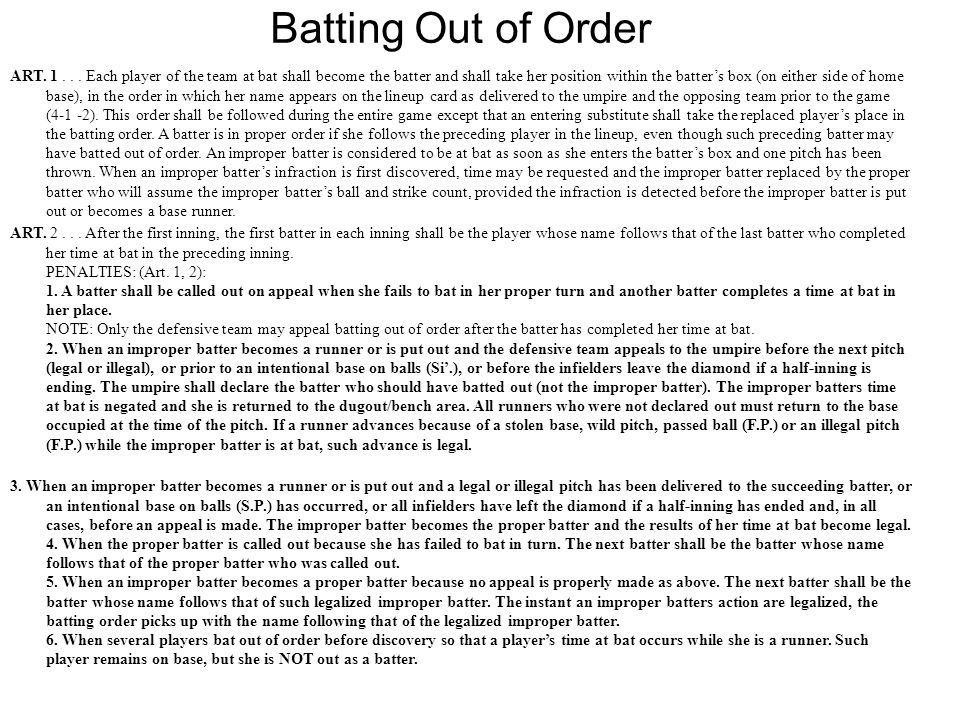 Batting Out of Order