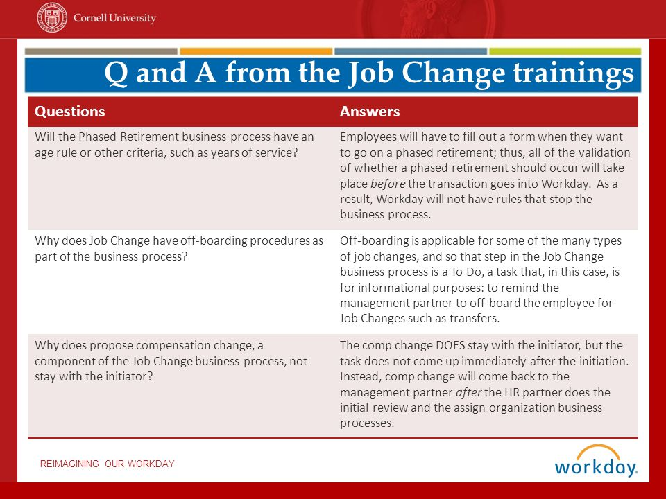 Q and A from the Job Change trainings