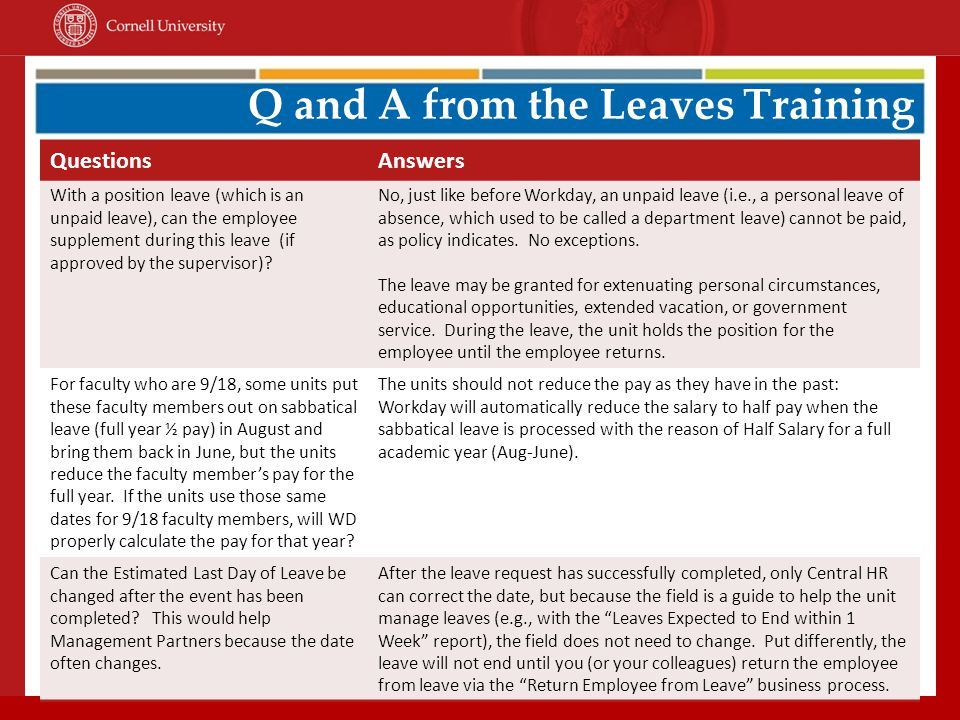 Q and A from the Leaves Training