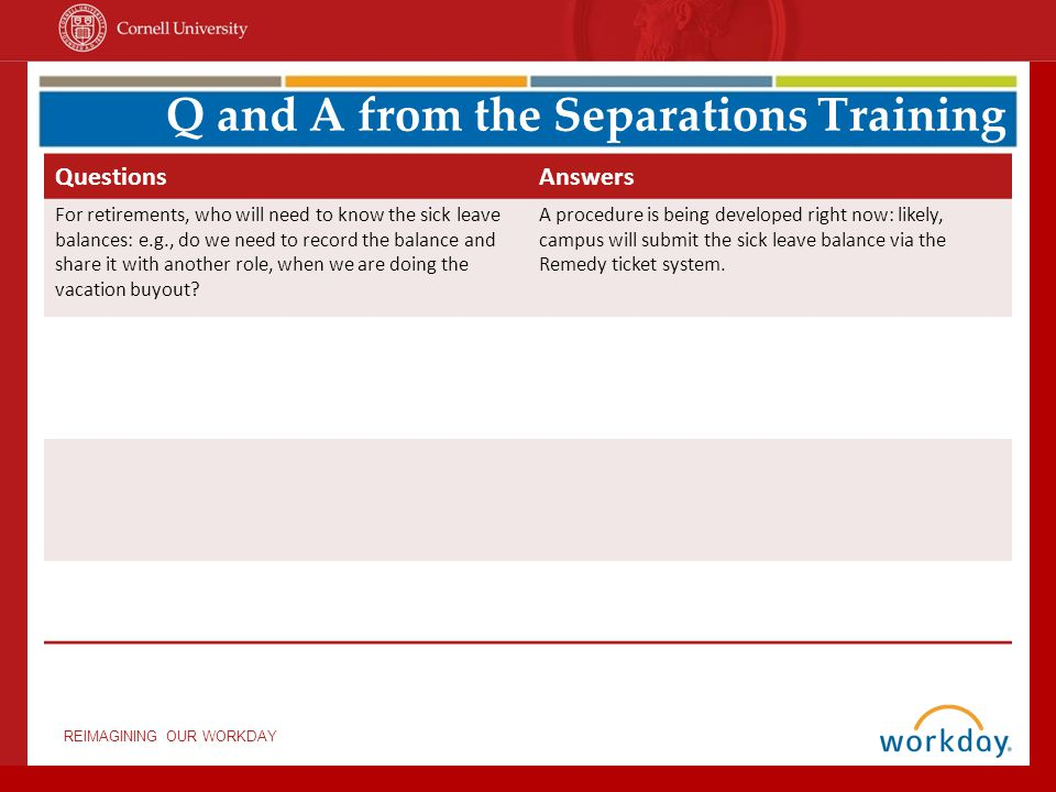 Q and A from the Separations Training