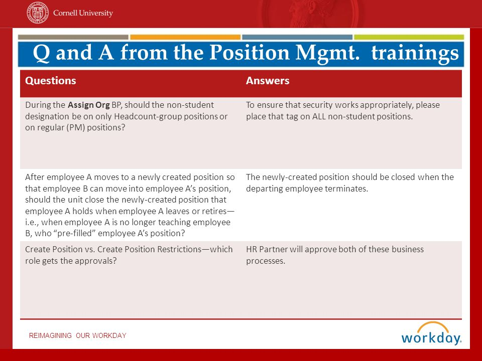 Q and A from the Position Mgmt. trainings