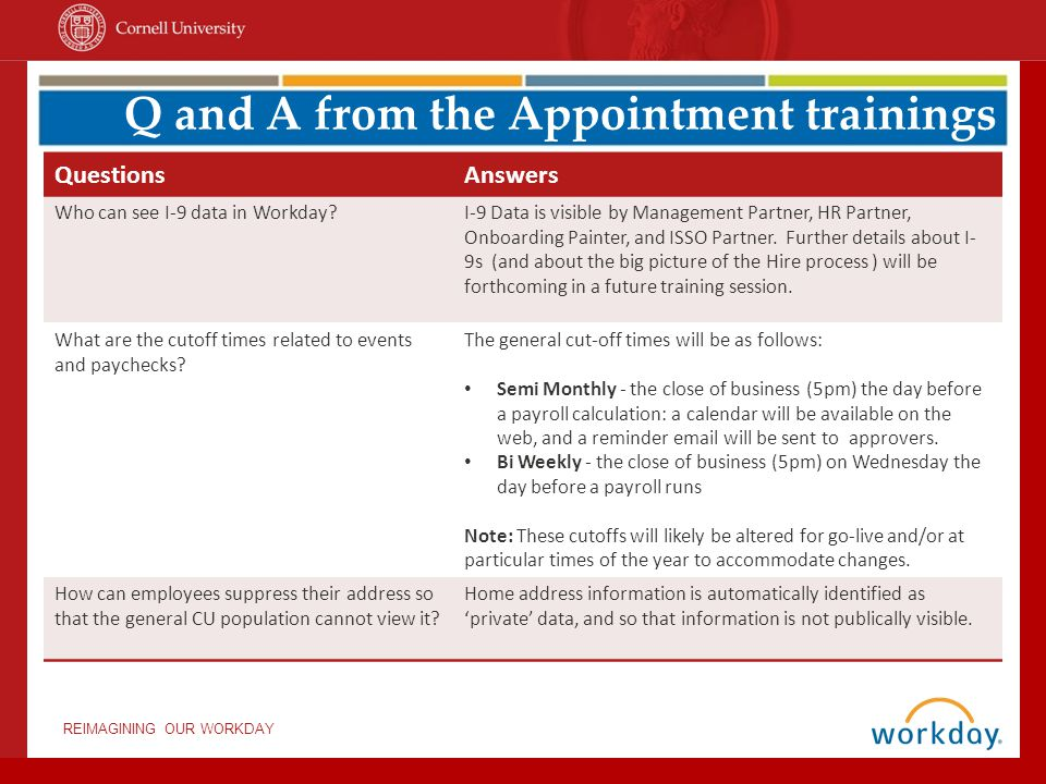 Q and A from the Appointment trainings