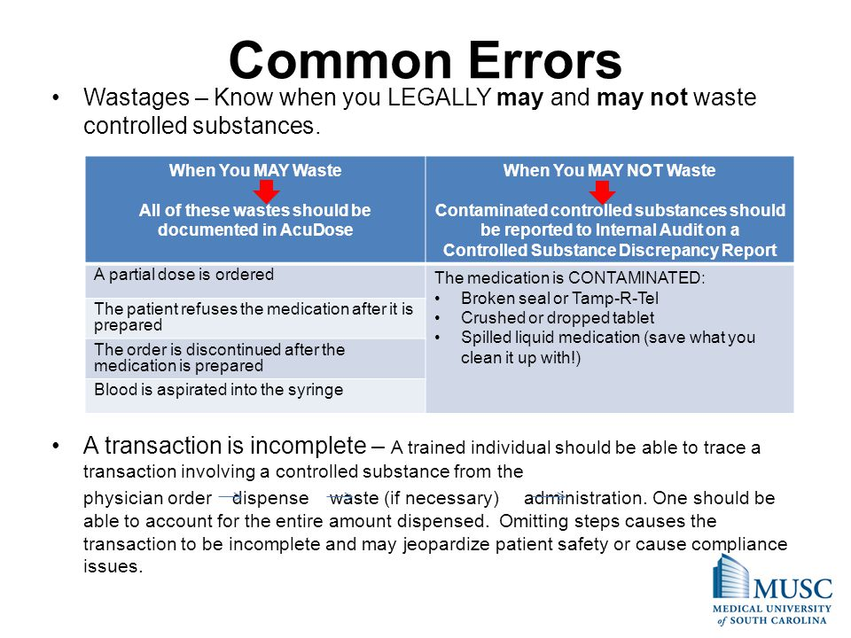 Common Errors Wastages – Know when you LEGALLY may and may not waste controlled substances.