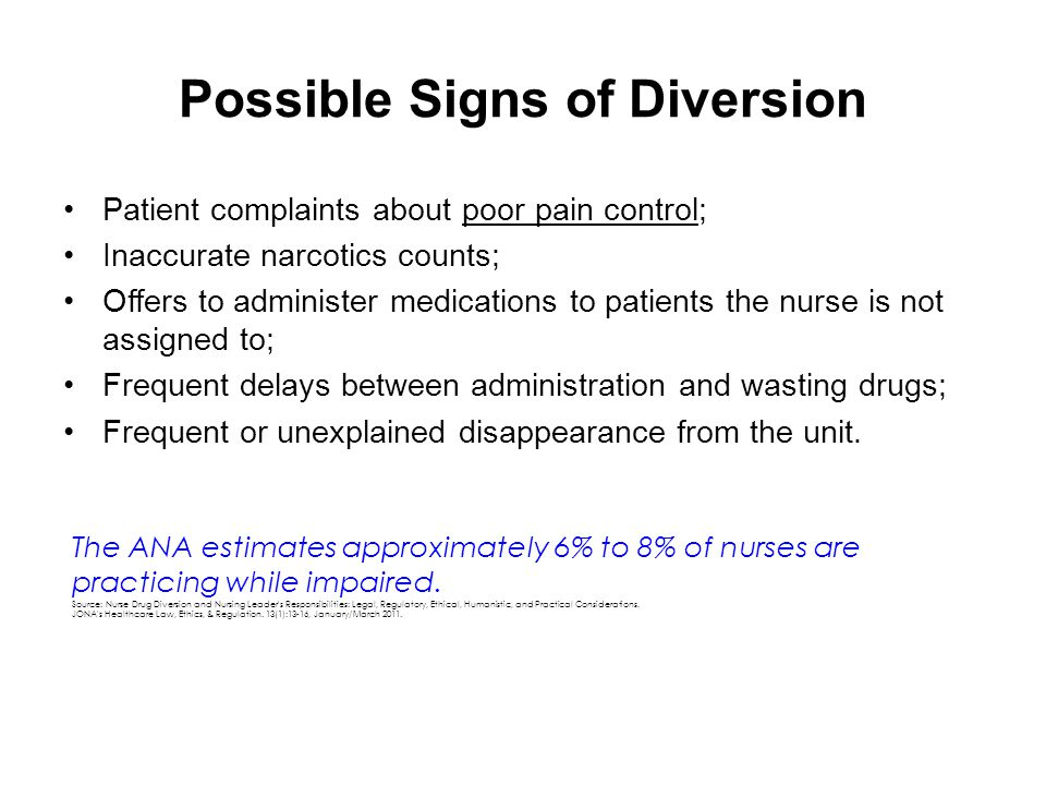 Possible Signs of Diversion