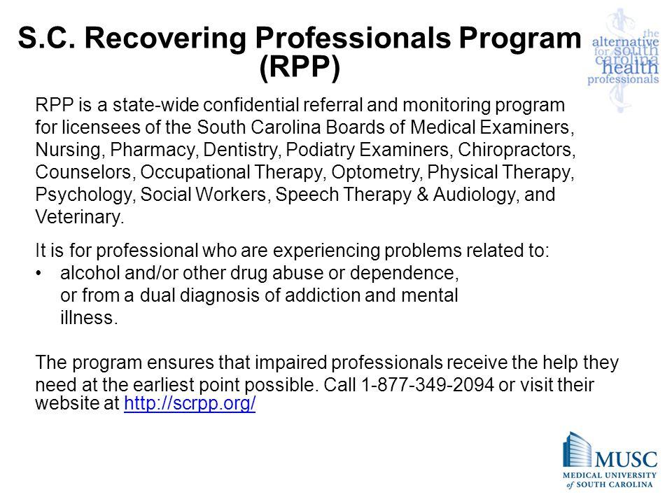 S.C. Recovering Professionals Program (RPP)