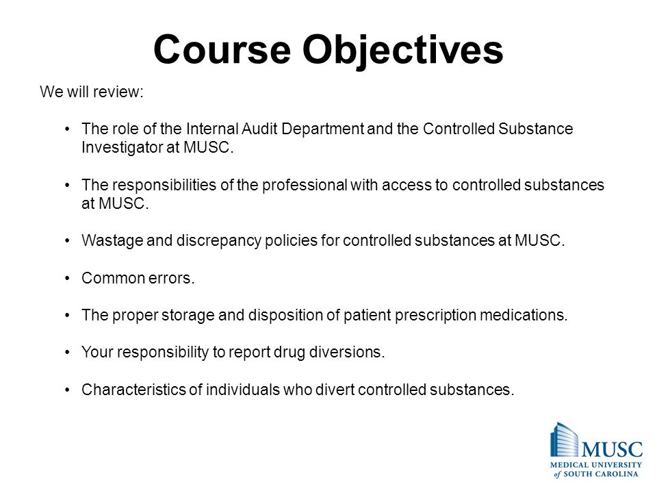 Course Objectives We will review: