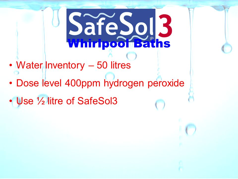 Whirlpool Baths Water Inventory – 50 litres