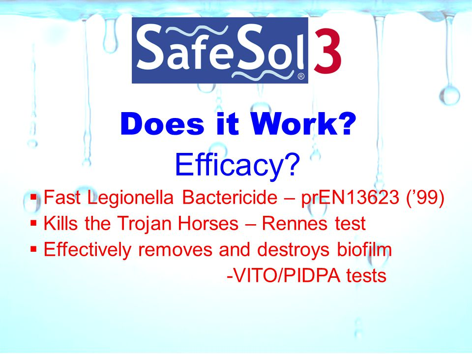 Does it Work Efficacy Fast Legionella Bactericide – prEN13623 ('99)