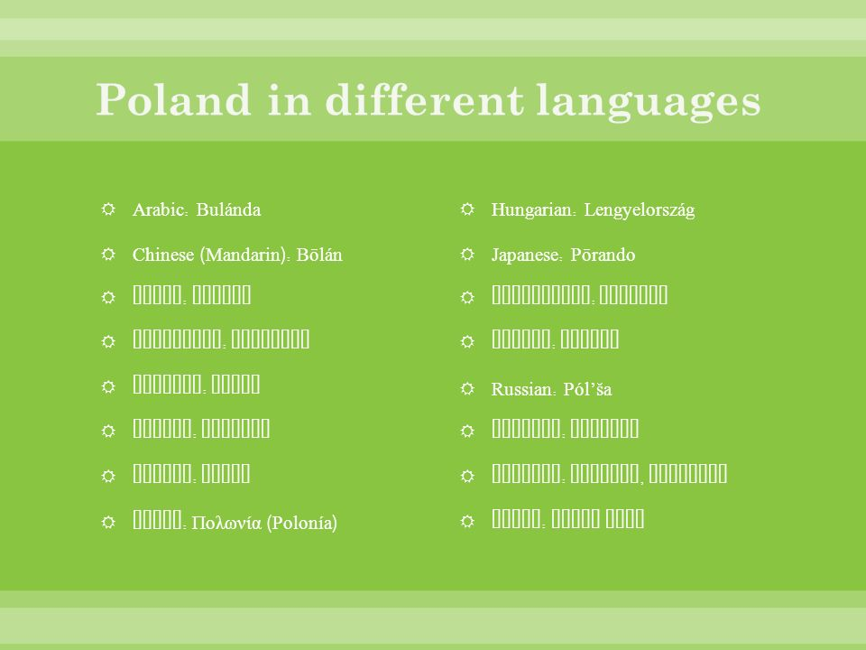Poland in different languages