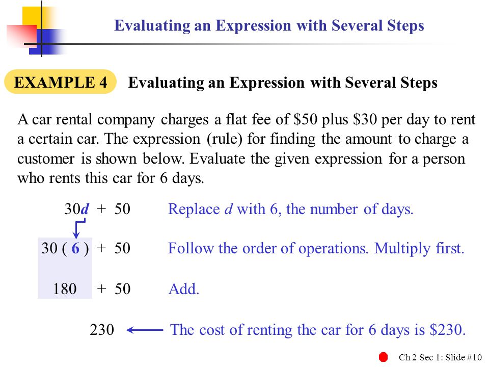 Evaluating an Expression with Several Steps