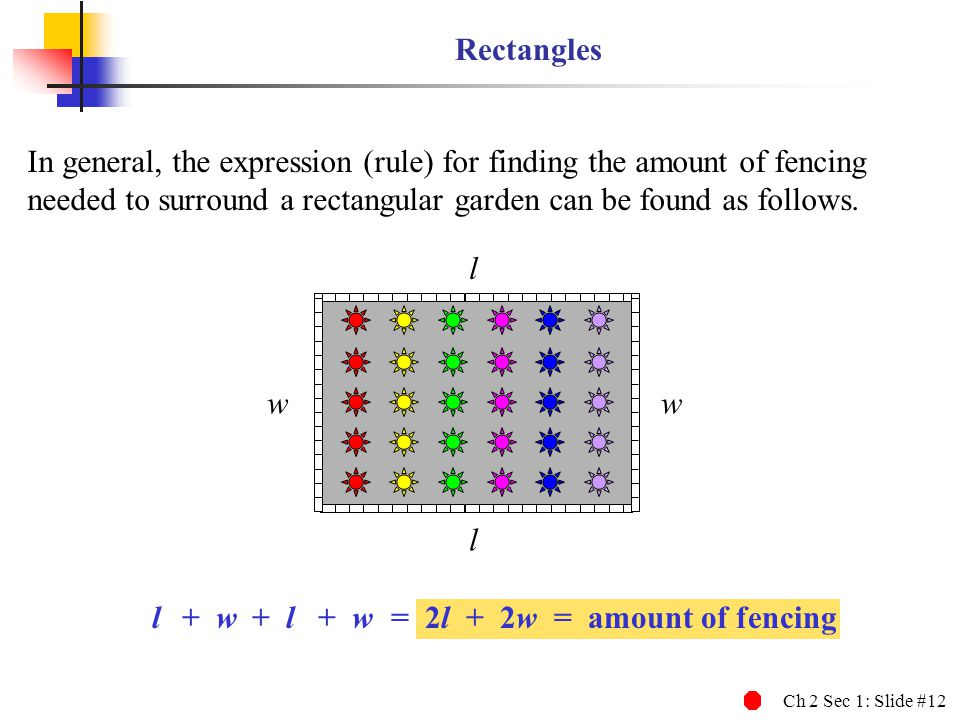 Rectangles In general, the expression (rule) for finding the amount of fencing needed to surround a rectangular garden can be found as follows.