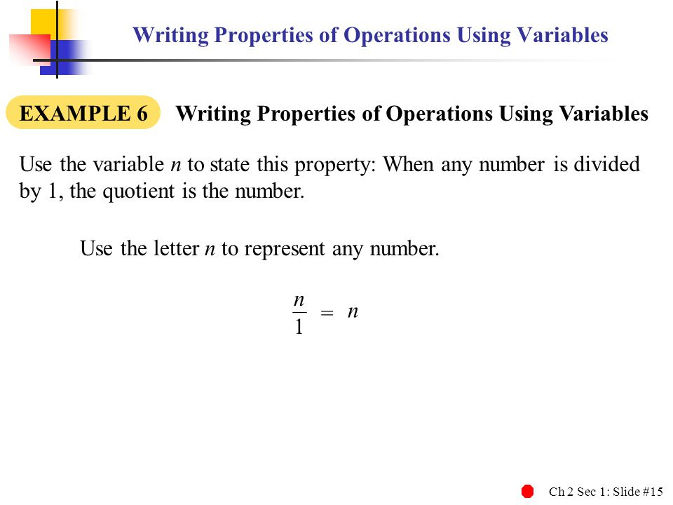 Writing Properties of Operations Using Variables