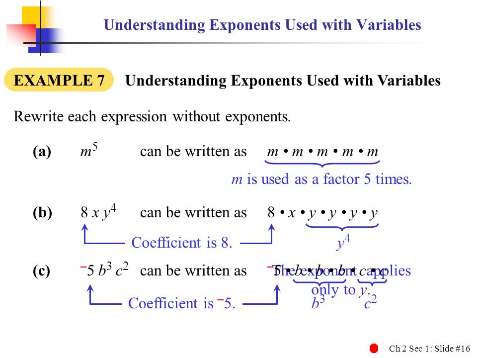 Understanding Exponents Used with Variables