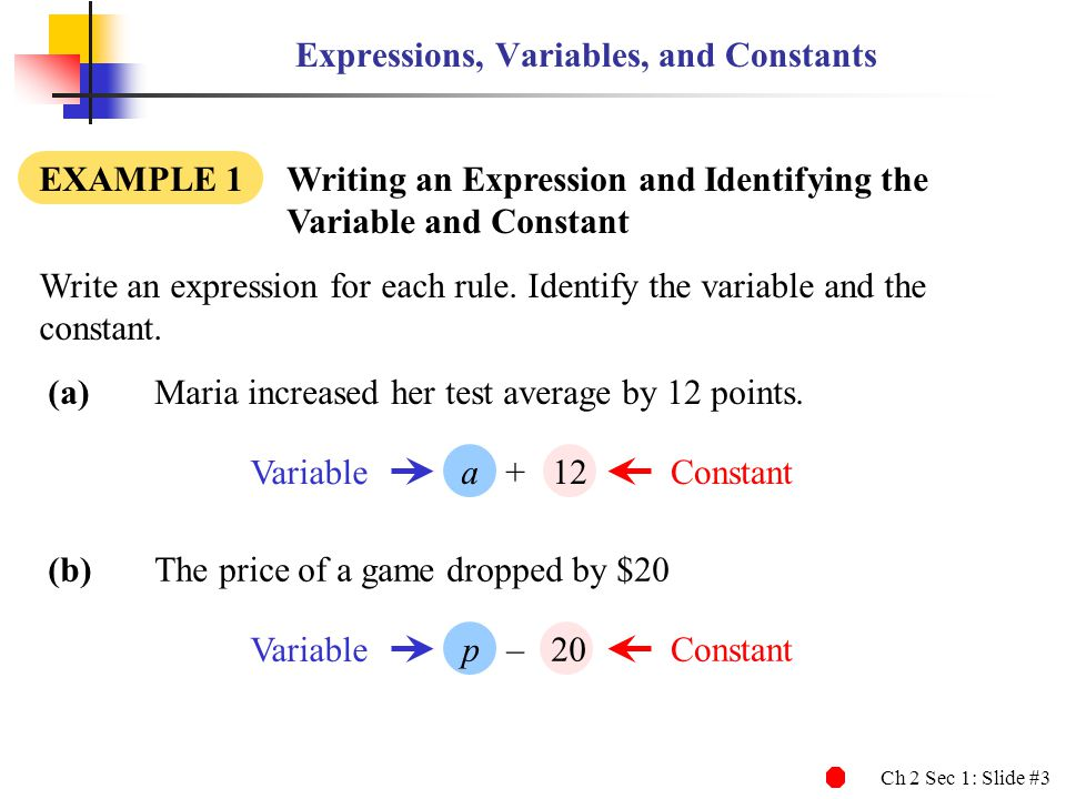 Expressions, Variables, and Constants
