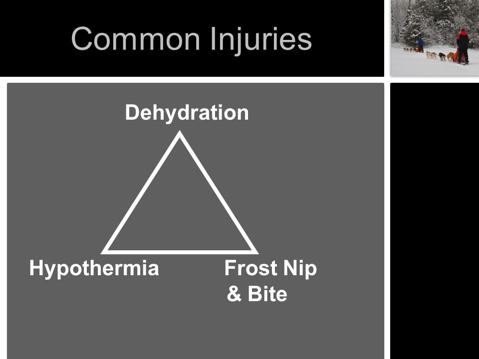 Common Injuries Dehydration Hypothermia Frost Nip & Bite