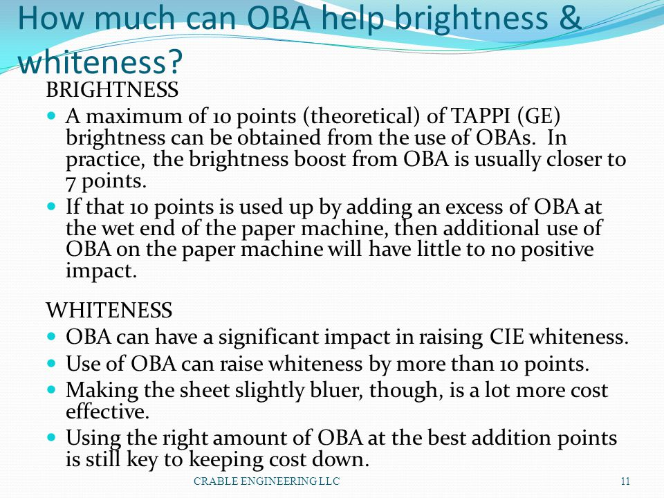 How much can OBA help brightness & whiteness