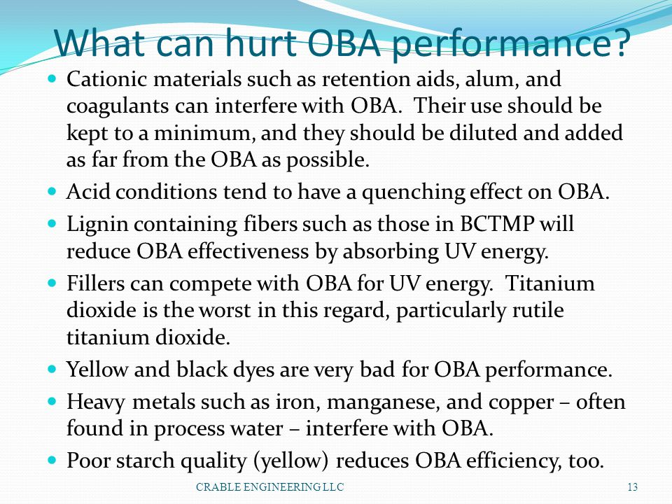 What can hurt OBA performance