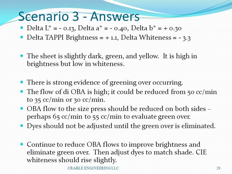 Scenario 3 - Answers Delta L* = - 0.13, Delta a* = - 0.40, Delta b* = + 0.30. Delta TAPPI Brightness = + 1.1, Delta Whiteness = - 3.3.