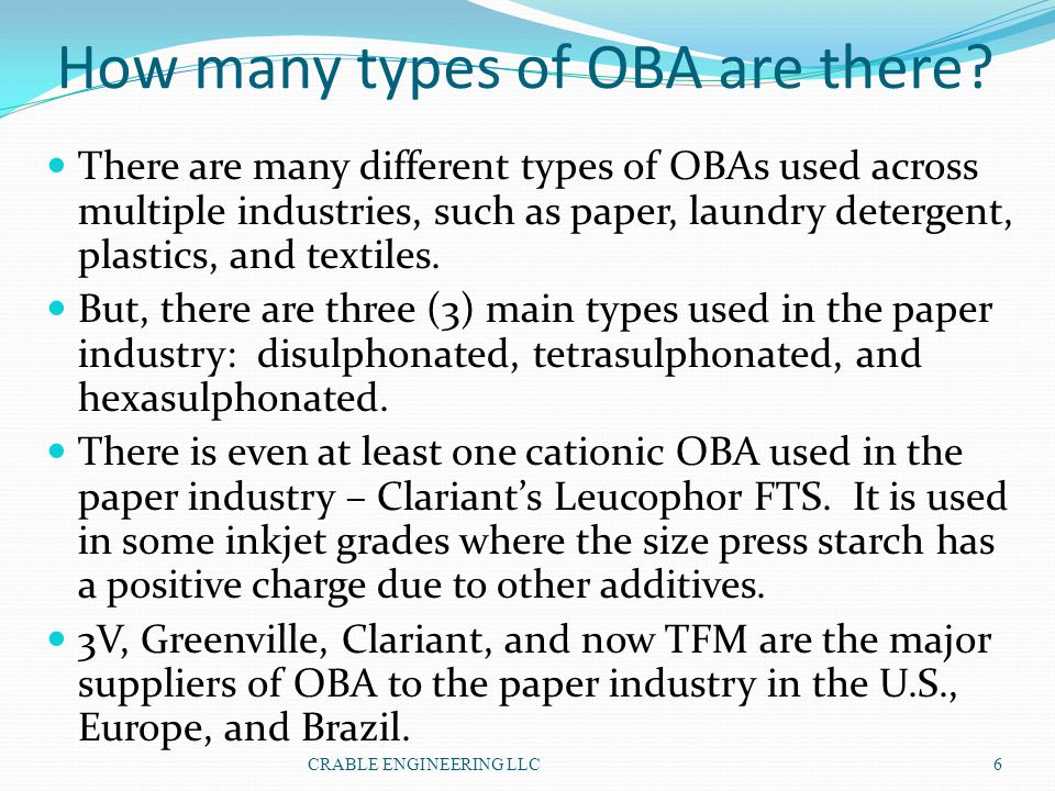How many types of OBA are there