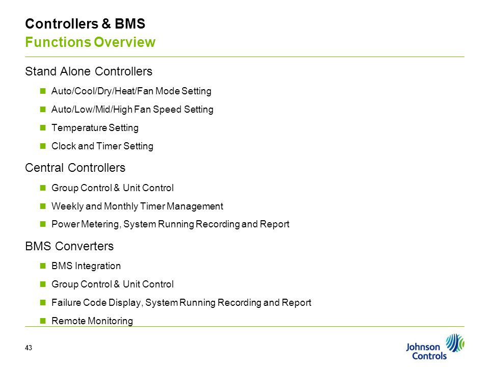 V Controllers & BMS Functions Overview Stand Alone Controllers