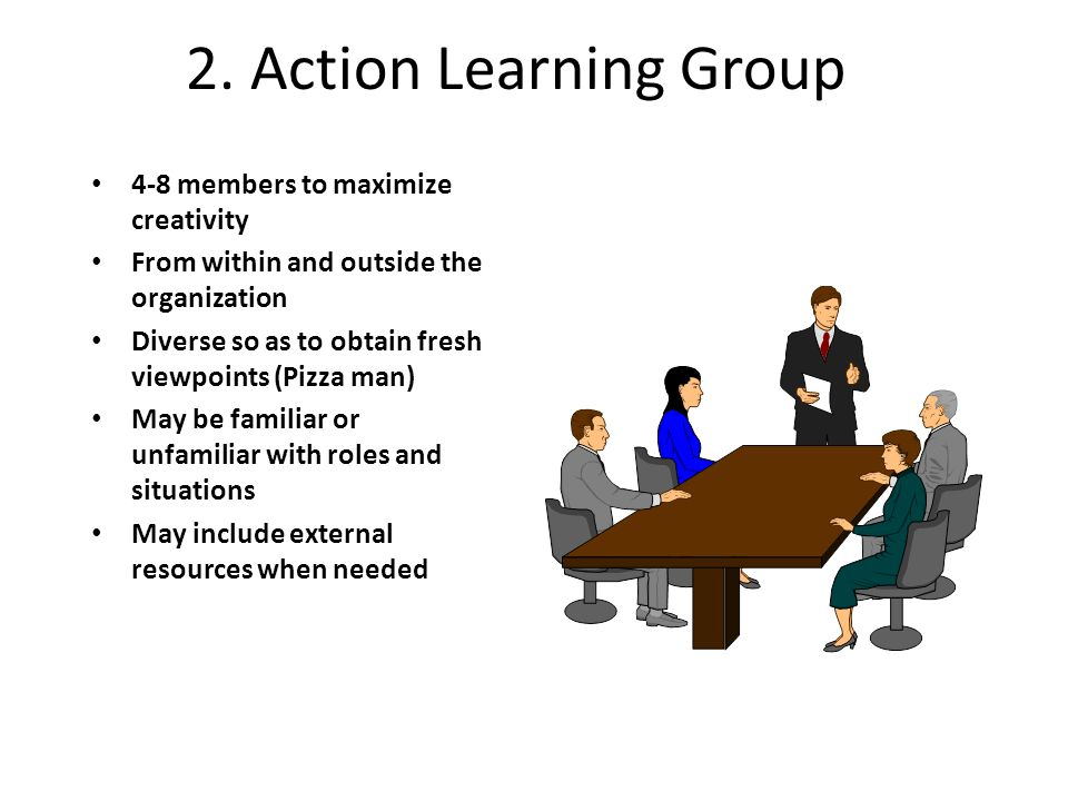 2. Action Learning Group 4-8 members to maximize creativity