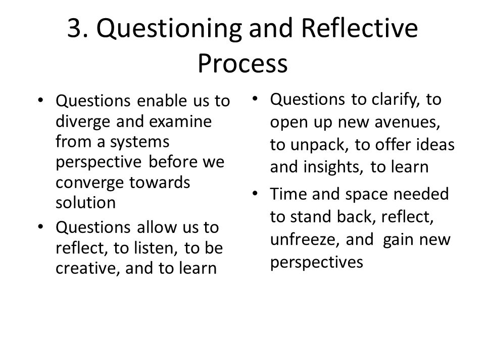 3. Questioning and Reflective Process