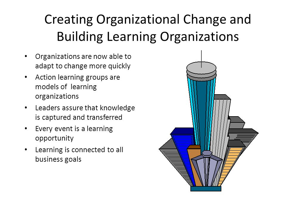 Creating Organizational Change and Building Learning Organizations
