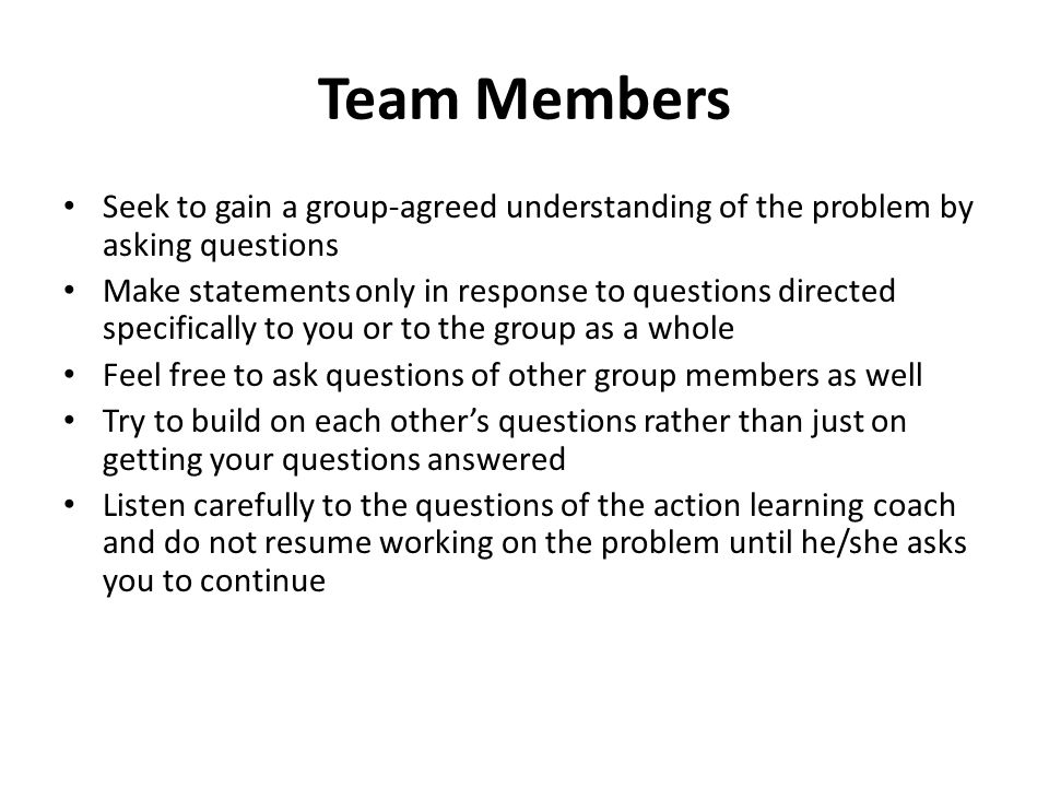 Team Members Seek to gain a group-agreed understanding of the problem by asking questions.